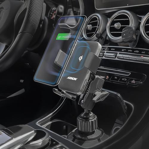 아콘 무선N오토 로버스트 차량용 컵홀더 무선충전 핸드폰 거치대, 스몰 AWCRMS323